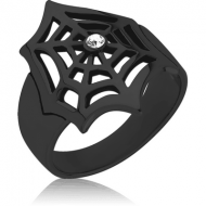BLACK PVD COATED SURGICAL STEEL JEWELLED RING - SPIDER WEB
