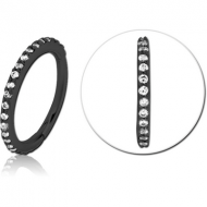BLACK PVD COATED SURGICAL STEEL JEWELLED MULTI PURPOSE CLICKER PIERCING