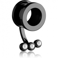 BLACK PVD COATED STAINLESS STEEL THREADED TUNNEL WITH SYNTHETIC PEARL PIERCING