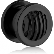 BLACK PVD COATED STAINLESS STEEL THREADED TUNNEL - STRIPES DOME PIERCING