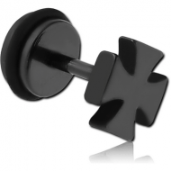 BLACK PVD COATED SURGICAL STEEL IRON CROSS FAKE PLUG PIERCING