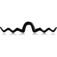 BLACK PVD COATED SURGICAL STEEL SEPTUM MUSTACHE