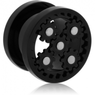 BLACK PVD COATED STAINLESS STEEL THREADED GEAR TUNNEL PIERCING