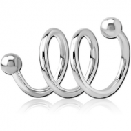 SURGICAL STEEL 3TURN SPIRAL BARBELL PIERCING