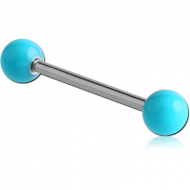SURGICAL STEEL BARBELL WITH ENAMEL COATED STEEL BALL PIERCING