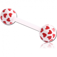 UV ACRYLIC FLEXIBLE BARBELL WITH PRINTED HEARTS BALL PIERCING