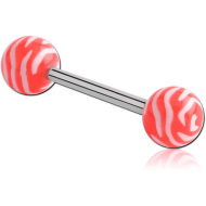 SURGICAL STEEL BARBELL WITH ACRYLIC ANIMAL PRINTED BALL PIERCING