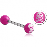 SURGICAL STEEL BARBELL WITH ACRYLIC SKULL PRINTED BALL PIERCING