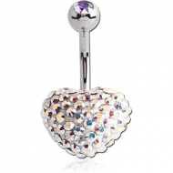 SURGICAL STEEL CRYSTALINE JEWELLED HEART NAVEL BANANA WITH JEWELLED BALL