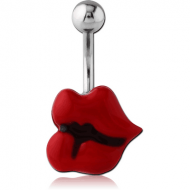 STAINLESS STEEL NAVEL BANANA WITH ENAMEL - LIPS PIERCING