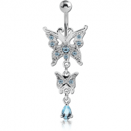RHODIUM PLATED BRASS JEWELLED NAVEL BANANA WITH DANGLING CHARM - BUTTERFLY PIERCING