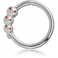 SURGICAL STEEL JEWELLED SEAMLESS RING - RIGHT - TRIPLE GEM PIERCING
