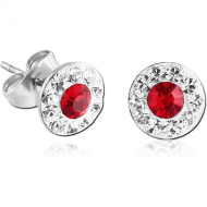 SURGICAL STEEL CRYSTALINE DOT JEWELLED EAR STUDS PAIR