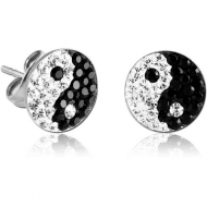 PAIR OF SURGICAL STEEL CRYSTALINE JEWELLED YIN YANG EAR STUDS