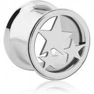 SURGICAL STEEL STARS DOUBLE FLARED TUNNEL PIERCING