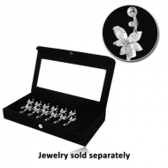 DISPLAY-VELVET MIRRORED BOX WITH 12 CLIPS LOOSE PART COMPARTMENT