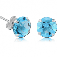 STERLING SILVER 925 JEWELLED PRONG SET ROUND EAR STUDS PAIR - 4MM