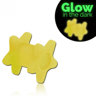 SILICONE GLOW IN THE DARK DOUBLE STAR FLARED TUNNEL