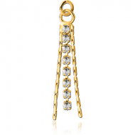 GOLD PVD COATED BRASS JEWELLED DANGLING CHARM