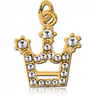 GOLD PVD COATED BRASS JEWELLED CHARM - CROWN