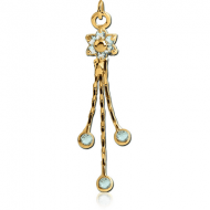GOLD PVD COATED BRASS JEWELLED DANGLING CHARM - FLOWER