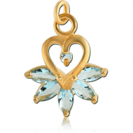 GOLD PVD COATED BRASS JEWELLED CHARM - HEART WITH MARQUISE STONES