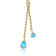 GOLD PVD COATED BRASS PRONG SET JEWELLED DANGLING CHARM