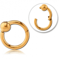 GOLD PVD COATED SURGICAL STEEL HINGED SEGMENT RING WITH BALL