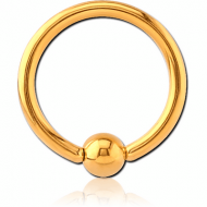 GOLD PVD COATED SURGICAL STEEL BALL CLOSURE RING