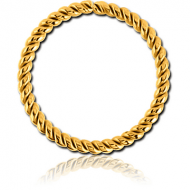 GOLD PVD COATED SURGICAL STEEL SEAMLESS RING - TWIST