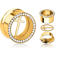 GOLD PVD COATED STAINLESS STEEL DOUBLE FLARED THREADED JEWELLED TUNNEL WITH REMOVABLE CROSS