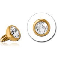 GOLD PVD COATED SURGICAL STEEL SWAROVSKI CRYSTAL JEWELLED BALL FOR 1.2MM INTERNALLY THREADED PINS