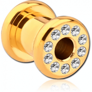 GOLD PVD COATED STAINLESS STEEL JEWELLED ROUND TUNNEL (12 STONES PP9) EMPTY PART PIERCING