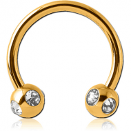 GOLD PVD COATED SURGICAL STEEL MICRO CIRCULAR BARBELL WITH SATELLITE JEWELLED BALLS