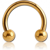 GOLD PVD COATED SURGICAL STEEL MICRO CIRCULAR BARBELL PIERCING