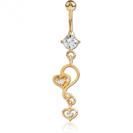 GOLD PVD COATED JEWELLED FASHION NAVEL BANANA PIERCING