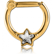 GOLD PVD COATED SURGICAL STEEL STAR JEWELLED HINGED SEPTUM CLICKER