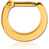 GOLD PVD COATED SURGICAL STEEL HINGED SEPTUM CLICKER PIERCING