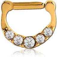 GOLD PVD COATED SURGICAL STEEL ROUND SWAROVSKI CRYSTALS JEWELLED HINGED SEPTUM