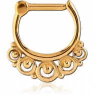 GOLD PVD COATED SURGICAL STEEL HINGED SEPTUM CLICKER