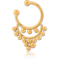 GOLD PVD COATED SURGICAL STEEL FAKE SEPTUM RING - 15 BALLS