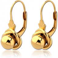 STERLING SILVER 925 GOLD PVD COATED EARRINGS PAIR - BALL