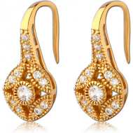 STERLING SILVER 925 GOLD PVD COATED JEWELLED EARRINGS PAIR