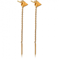 STERLING SILVER 925 GOLD PVD COATED EARRINGS PAIR - TRIANGLE STUD WITH HANGING BAR