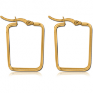 GOLD PVD COATED STAINLESS STEEL SQUARE EAR HOOPS PAIR