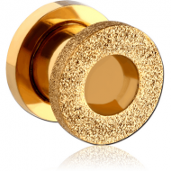 GOLD PVD COATED STAINLESS STEEL FROSTED THREADED TUNNEL
