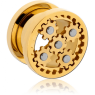 GOLD PVD COATED STAINLESS STEEL THREADED GEAR TUNNEL