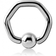 SURGICAL STEEL HEXAGON BALL CLOSURE RING PIERCING