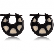 ORGANIC HORN PAINTED EARRINGS PAIR - HALF CIRCLES