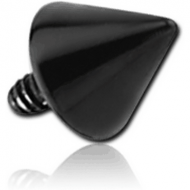 BLACK PVD SURGICAL STEEL CONE FOR 1.6MM INTERNALLY THREADED PIN PIERCING